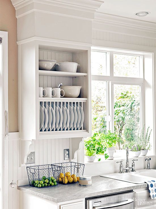 Install open shelves and a hutch for plates above the dishwasher to house frequently used dishes. This way you won't need to cart heavy stacks of plates, bowls, and serving platters across the kitchen after every wash./