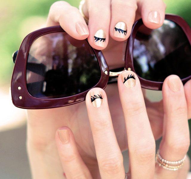 cute eyelash nails
