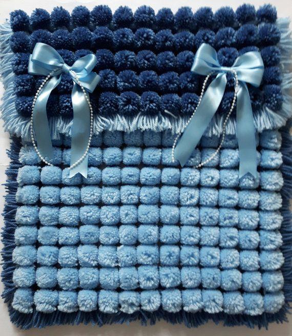 Pom pom turnover baby boy blanket in denim blue by KatiekittykatXx
