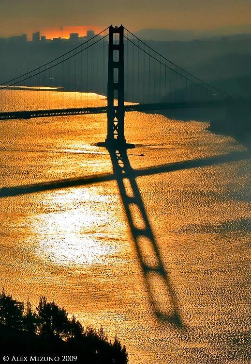 ~~Six O'clock Shadow - Golden Gate Bridge at sunrise, view from Marin Headlands, San Francisco, California by Alex Mizuno~~