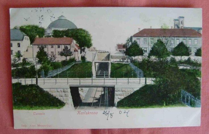 Karlskrona Tunneln kolorerat vykort fr 1902 på Tradera.com - Vykort och