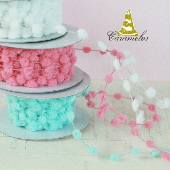 wired pom pom trim, different colors, 5 yards for $3.50