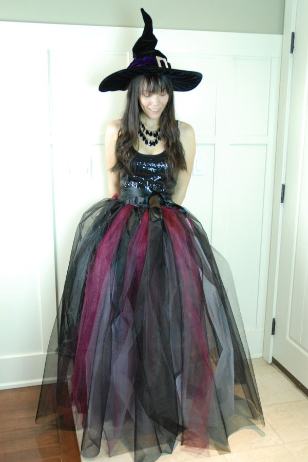homemade witch costume. tulle and satin quilt binding!