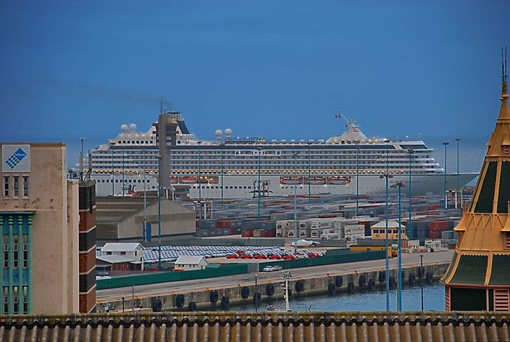 A passenger boat arrives in Port Elizabeth Harbour, South Africa.