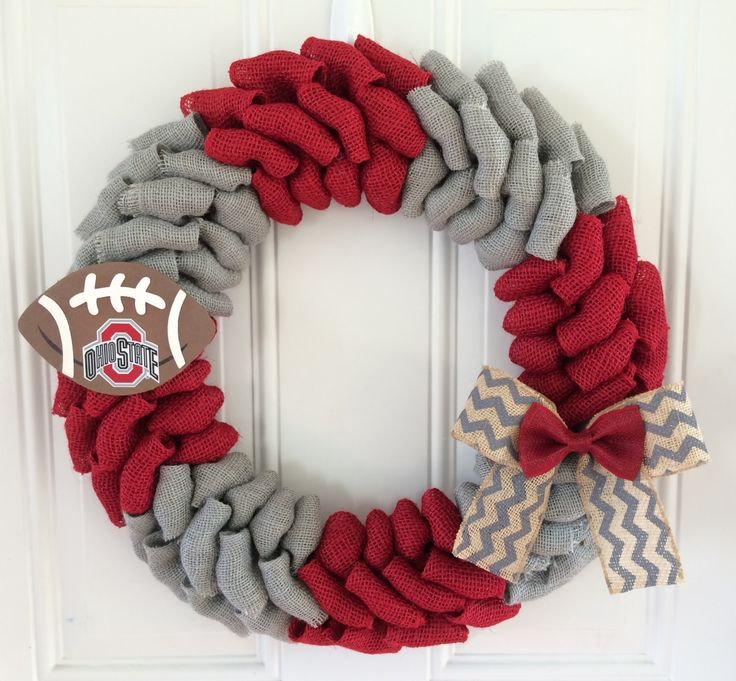 Ohio State University burlap wreath - Ohio State University - Buckeyes - OSU…