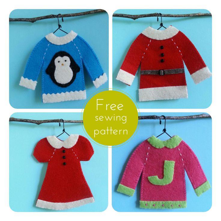 Ric-Rac: Holiday Sweaters, Santa Suit  & Holiday Dress Felt Ornaments
