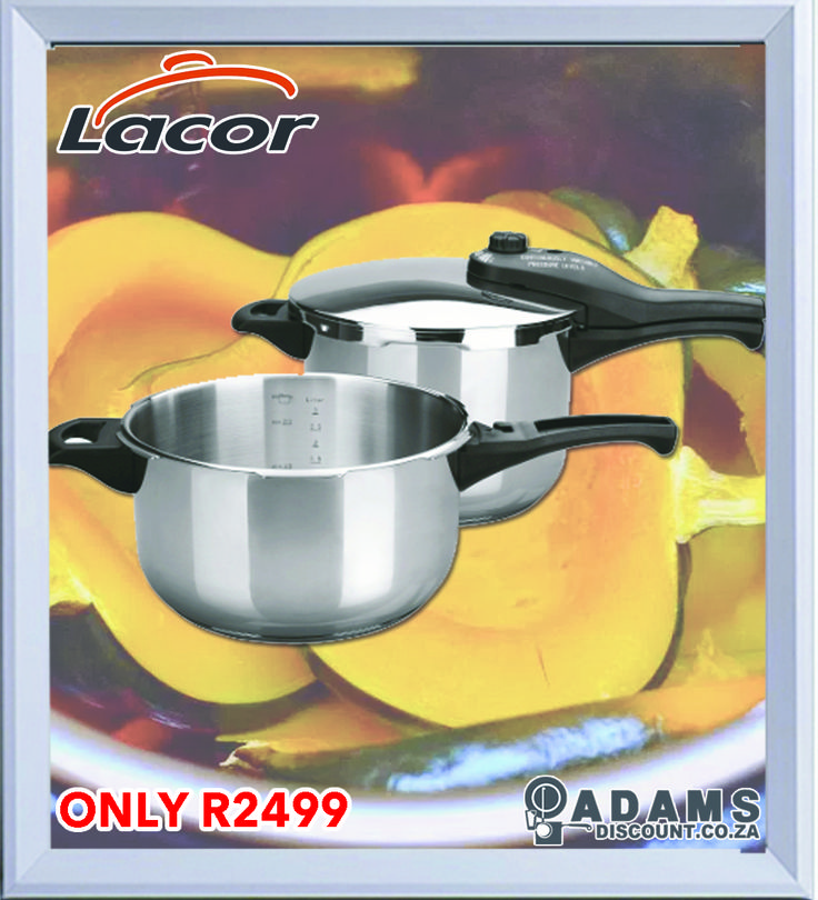Adams now offers you the Lacor 2 in 1 Pressure Cooker for ONLY R2499.  The set constitutes a 4 litre & a 6 litre cooker, plus lid.  With all the great features offered by the Lacor range, like 18/10 stainless steel, time & energy saving technology and fast, safe, easy handling, this is a must have for any gourmet chef or moms and dads that love cooking.  Get yours at Adams today!
