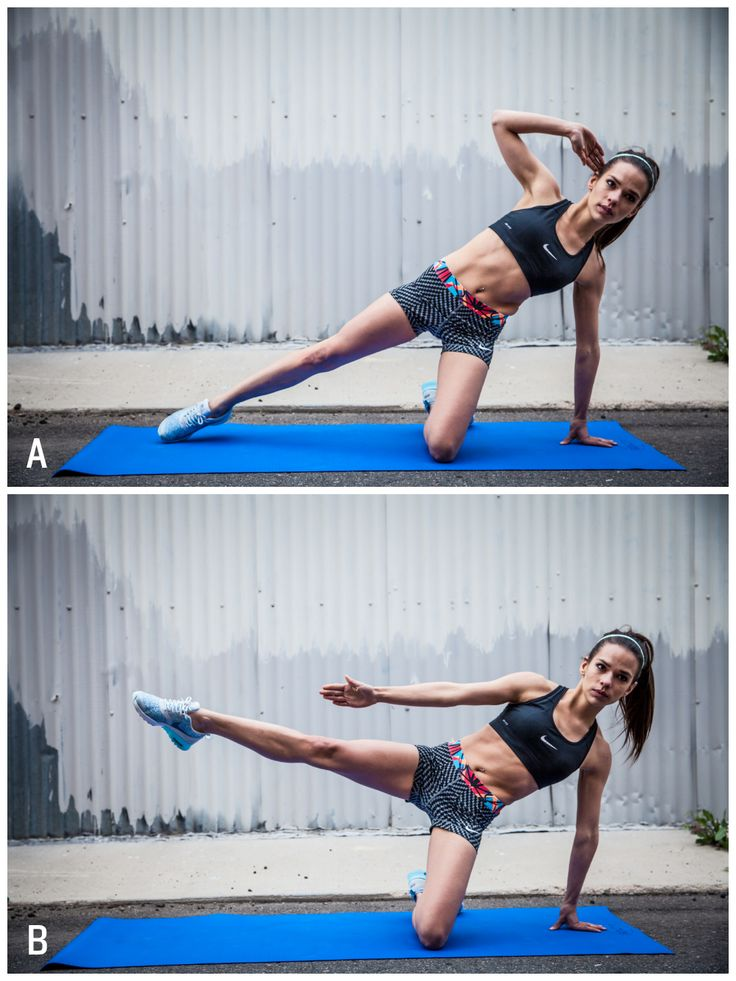 V-line side crunch: this move will build your Obliques to help you achieve the coveted V-line! A. Begin on your knees, shoulder-width apart. Place your right hand on the ground, left hand behind your head, and left leg extended out.  B As you lift your left leg off the ground, bring your hand down toward your knee. This is one rep. Complete 8-12 reps per side.  #abworkout