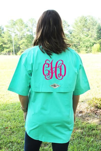Hook & Tackle Gulf Stream Short Sleeve Fishing Shirt. Perfect for the southern girl who loves everything monogrammed or for your bridesmaids! #ewamboutique #monogram #fishingshirt #monogrammedfishingshirt #preppy