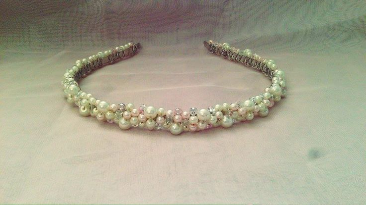 handmade bridal headpiece  pearls&crystals
