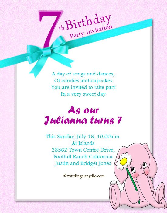 7th Birthday Invitation Wording Extravital Fasion Dom