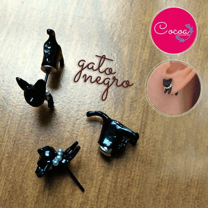 pendientes de gatito negro #accesorioscocoa