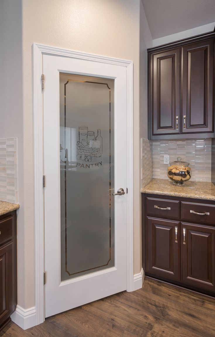 Frosted glass pantry door in kitchen design by Kathleen ...
