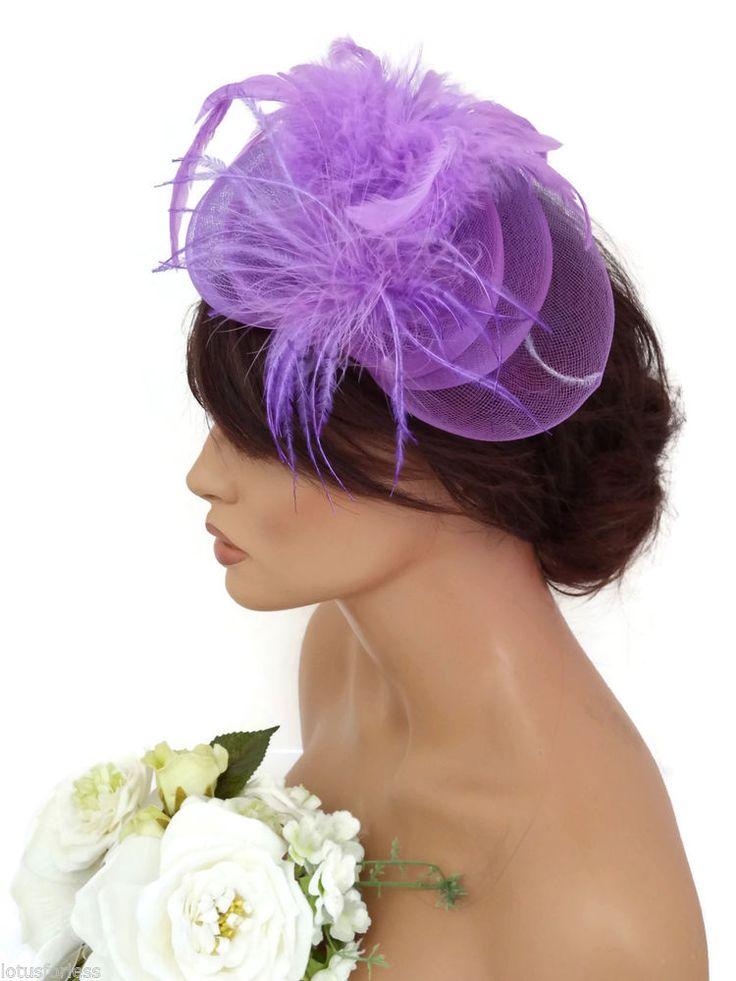 9823995554730 Stunning Dusky Pink Mesh Net Feather Headband Fascinator