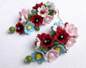 Orecchini fiore orecchini colorati penzolano Orecchini Orecchini Handmade polimero gioielli floreali gioielli moda gioielli fiori su ordinazione