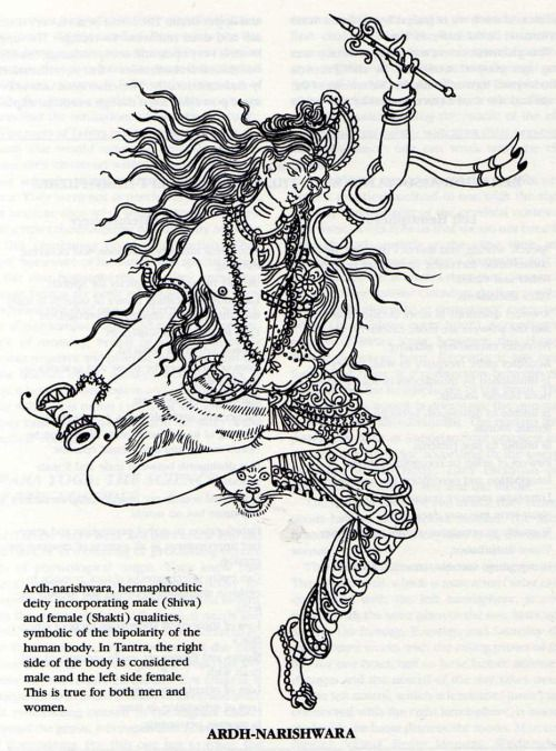 Ardhanarishvara Right the Male Energy(Shiva) and Left the Female Energy(Shakti) symbolic of the bipolarity of the human body.