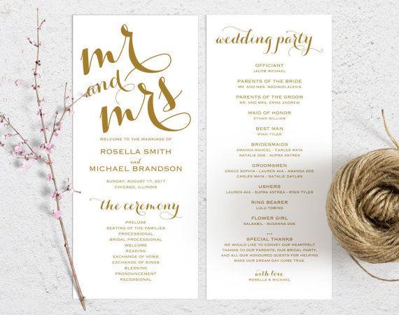 Best  Wedding Ceremony Program Template Ideas On