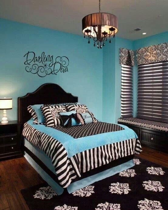Turquoise black bedroom bedrooms pinterest black for Black and white girls bedroom ideas