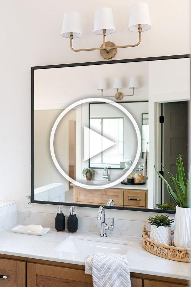 Bathroom Mirror Modern Farmhouse Bathroom Mirror With Thin Black Metal Frame Bathroom Mirr In 2020 Modern Farmhouse Bathroom Bathroom Mirror Farmhouse Bathroom Mirrors