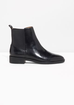 & Other Stories image 1 of Chelsea Leather Boots in Black Leather