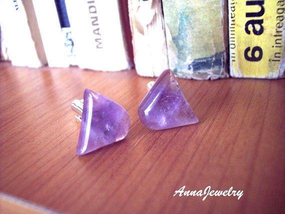 Amethyst Cufflinks Men Jewelry Mens Jewelry by annajewelry64