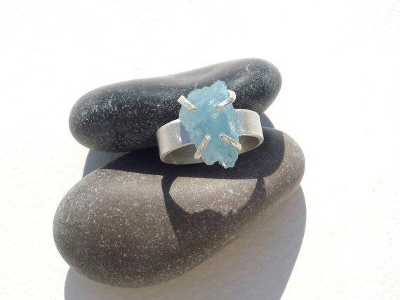 Rough, Raw ,Organic Aquamarine Gemstone Sterling Silver Ring.