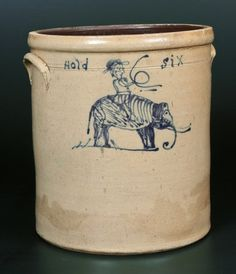 Sold $8,000 Unique and Important Six-Gallon Stoneware Crock with Cobalt Elephant and Rider Decoration, Midwestern origin, probably Ohio, circa 1875, lar...