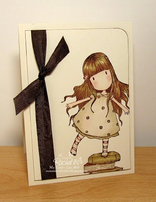 My Crafty Life: Clean & Simple Characters - Clean & Simply Gorjuss  Handmade card, Gorjuss Girls, DoCrafts, New Heights Stamp, Suzanne Woolcott, Clean and Simple, CAS, Vintage, Sepia
