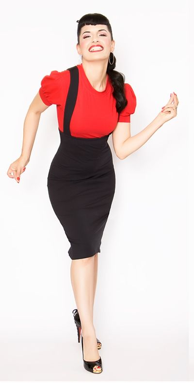 ¡arrgg!  Rockabilly Girl by Bernie Dexter**Fitted Black Maria Overall Pencil Skirt