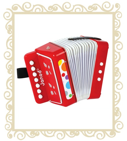 Janod Confetti Accordion  A modern take on an old favourite, the Confetti Accordion is a great sounding toy that encourages coordination and fine motor skills. Let your budding musicians become their own one man band by squeezing the bellows and belting out a tune! All Janod toys are designed in France and manufactured to strict quality and safety standards, meeting both European and Australian requirements. Age Range: 3 - 8 years Dimensions: 17cm x 10cm x 18.5cm $59.95