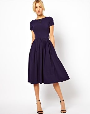 cute short sleeve navy midi dress--good deal!