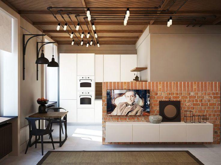 37m2-es kis lakás fa mennyezettel, téglafallal, modern konyhával és fürdőszobával