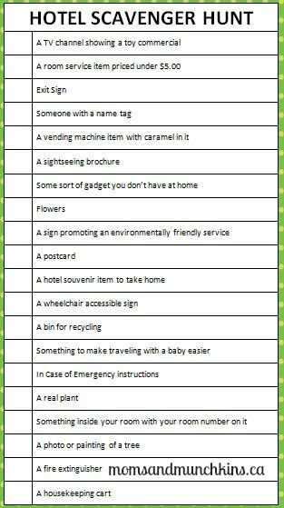 This printable hotel scavenger hunt game is a great way for your children to become more acquainted with the hotel during your next stay.