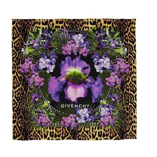 Givenchy Silk ScarfThis is a new authentic Givenchy silk scarf. An orange, yellow and black animal print is the background of the lavender and blue floral pattern which decorates this satin finish scarf. The edges are hand-rolled.  100% Brand New and AuthenticSize : 52 X 52 inches100% SilkNew and sealed * All prices in US Dollars* Shipping Approximately 7-14 days WORLDWIDE -$20 USD* Payment is by Secure PAYPAL *All DESIGNER items for sale are 100% Orig...