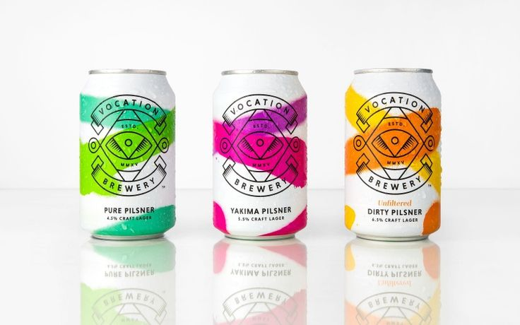 Colourful neon bursts of colour, for Robot Food's identity for Vocation brewery's new range of pilsners