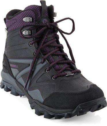 Merrell Women's Capra Glacial Ice Mid WP Winter Hiking Boots Black 6