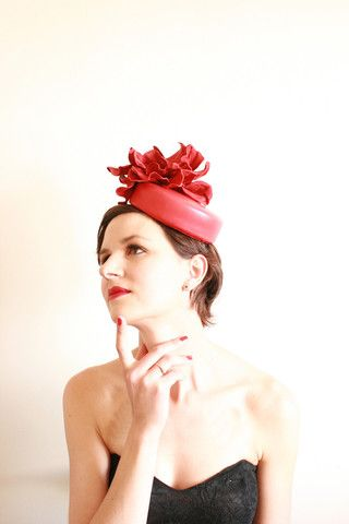 """Natalie Chan Couture millinery, """"Felipa"""" in Red New Zealand leather"""
