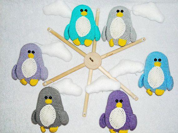 Bebé móvil pingüinos bebé ganchillo regalo pingüinos cuna