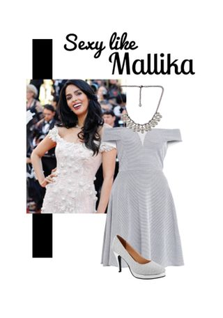 'Sexy like Mallika' by me on Limeroad featuring White Dresses, White Necklaces with Silver Pumps