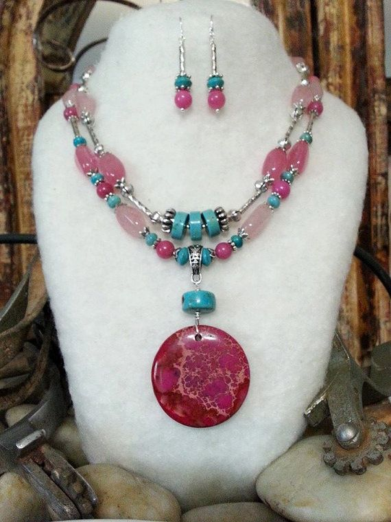 BOLD COWGIRL jewelry necklace earrings 2PS Set Pink by BoldCowgirl, $85.00
