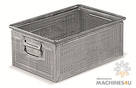 Dynsto Stainless Steel & Metal Heat Galvanised perforated - http://www.machines4u.com.au/browse/Material-Handling/Bins-Containers-300/Metal-Bins-1399/