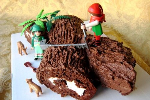Buche de Noel - this cake is a Christmas tradition at our house. It's easier to make than it looks. Kids love it!