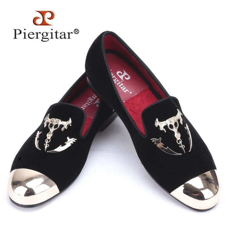 Piergitar men black velvet shoes with skull buckle and gold toe British style men loafers luxurious men dress shoes men's flats  #men #me #style #sexyshoes #photooftheday #mensfashion #fashion #baby #bride #gift #wedding #wallets #love #belts #gloves