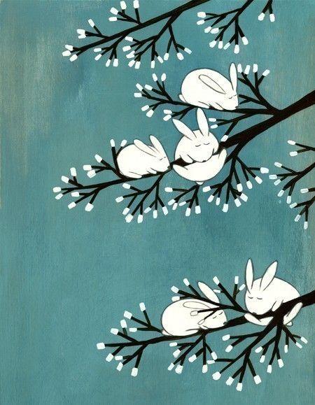 Rabbits on Marshmallow Tree is a print from an original acrylic illustration on wood. Art by Kristiana Pär.