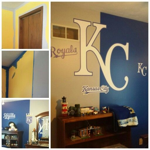 Kc Royals Inspired Bedroom Go I Love The Head To Colors That Meet Vertically In Middle Of Wall Our Before After Bank