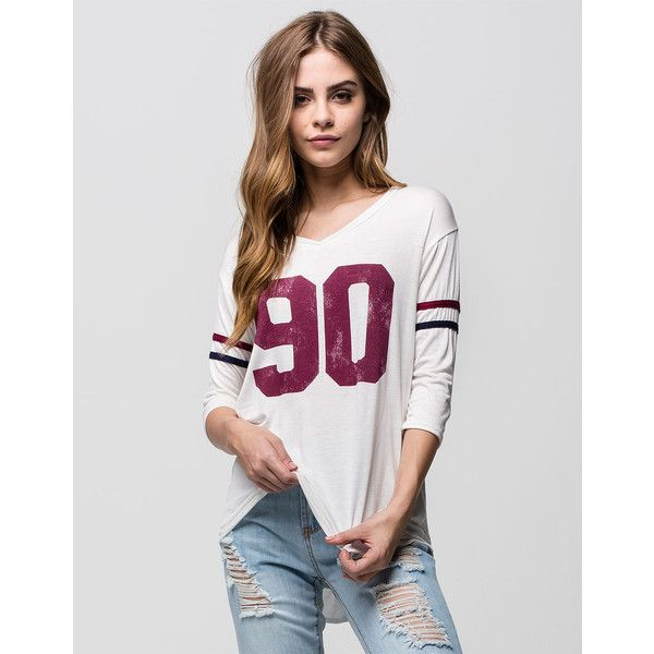 Full Tilt 90 Womens Football Tee (£15) ❤ liked on Polyvore featuring tops, t-shirts, white, v neck tee, white v neck top, raglan sleeve top, v-neck tops and white t shirt