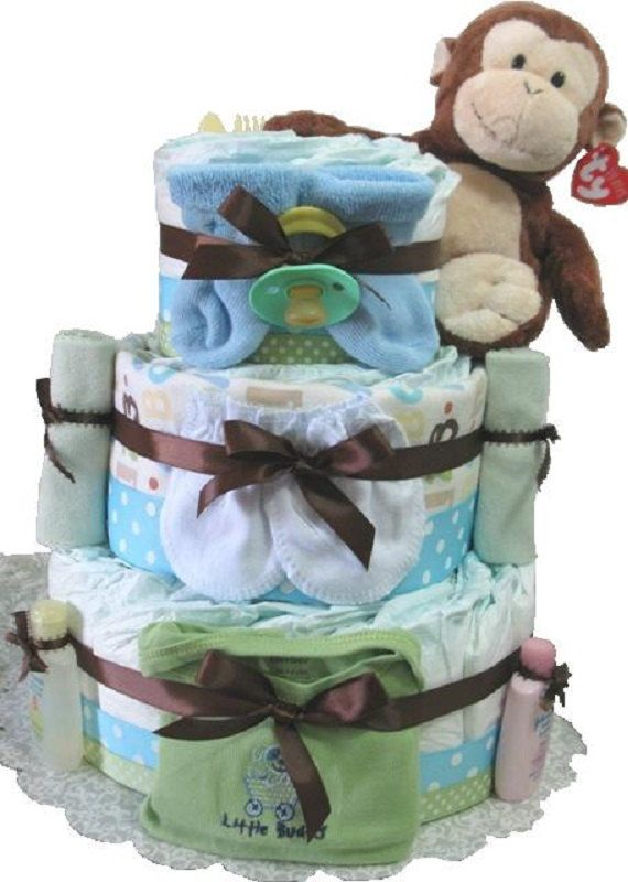 Blue monkey Diaper Cake baby shower gift Blue by DiaperCakesbyRuby