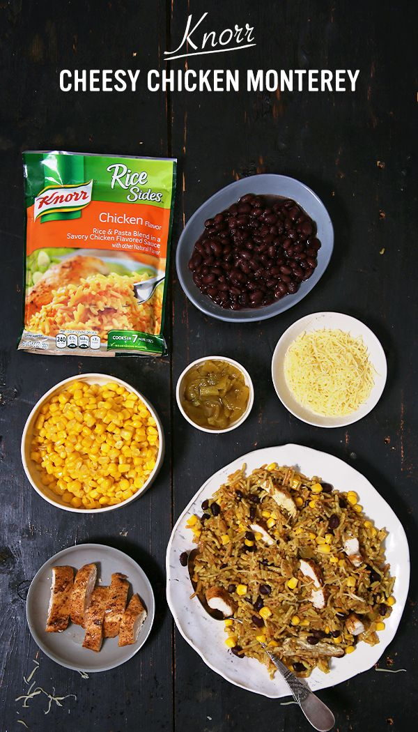 Knorr Cheesy Chicken Monterey is a flavorful burst of excitement that you can bring to the dinner table! With only 6 ingredients, make this fiesta-inspired recipe that your family will eat up in seconds. Just prepare Knorr® Rice Sides™ - Chicken flavor according to package directions. Stir in cooked chicken, corn, beans and chilies. Then, top with Monterey Jack cheese! It's an absolute must-try in the kitchen this week!