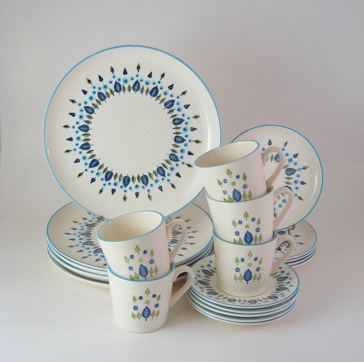 Vintage Dinnerware Set, Service for 5, Mar-crest Swiss Chalet, Vintage Mid-Century Dishes 1950's 1960's.