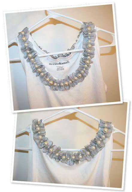 pearls and ribbons!! remaking tank tops. Description here http://handmadera.blogspot.com/2012/09/pearl-and-ribbon-collar-diy-tank-top.html